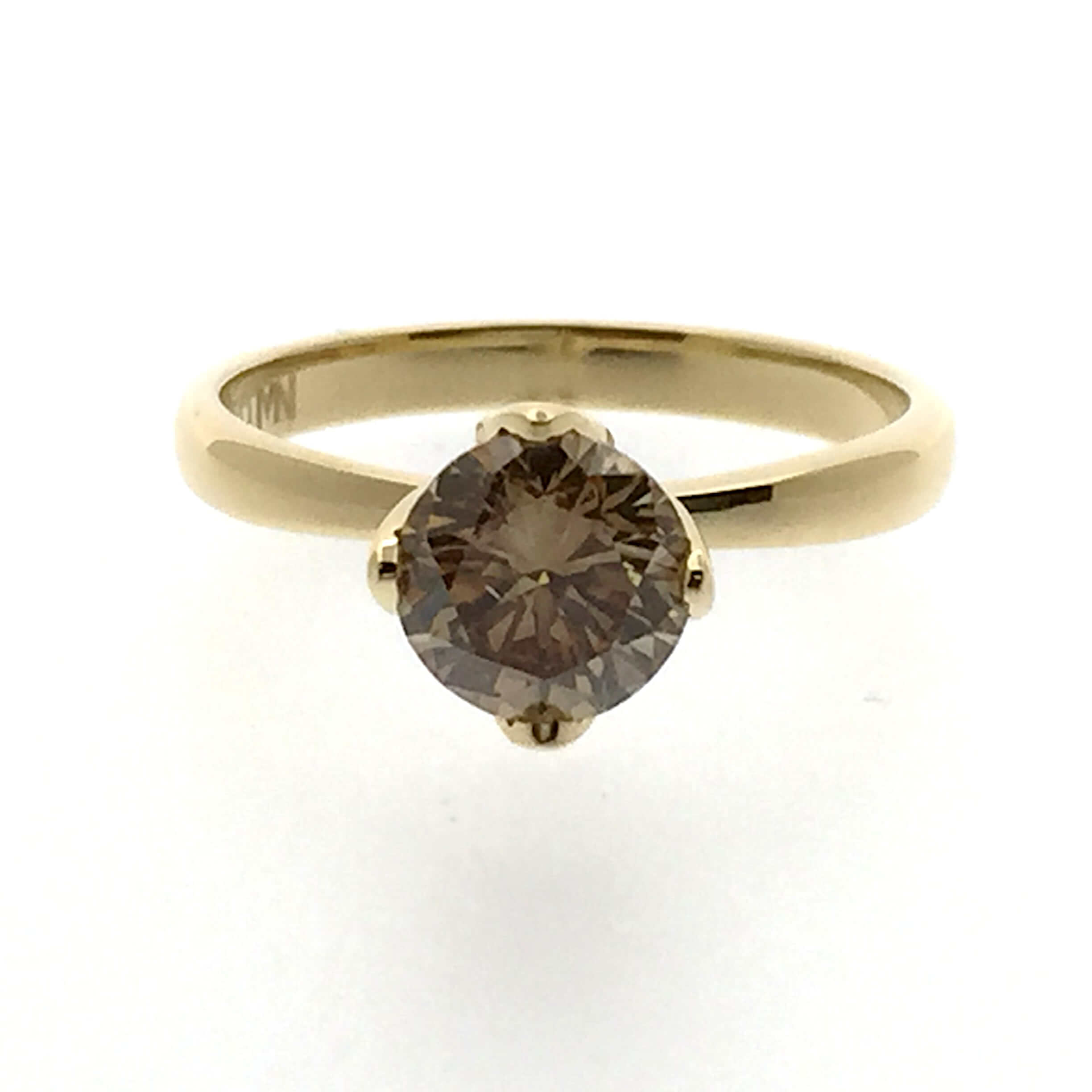 18ct Yellow gold Cognac diamond solitaire engagement ring