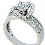 18ct white gold Round brilliant cut & Princess Diamond Engagement Ring