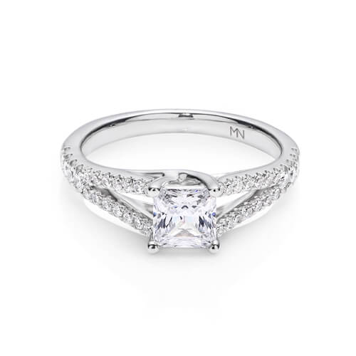 photo of a diamond ring with platinum band