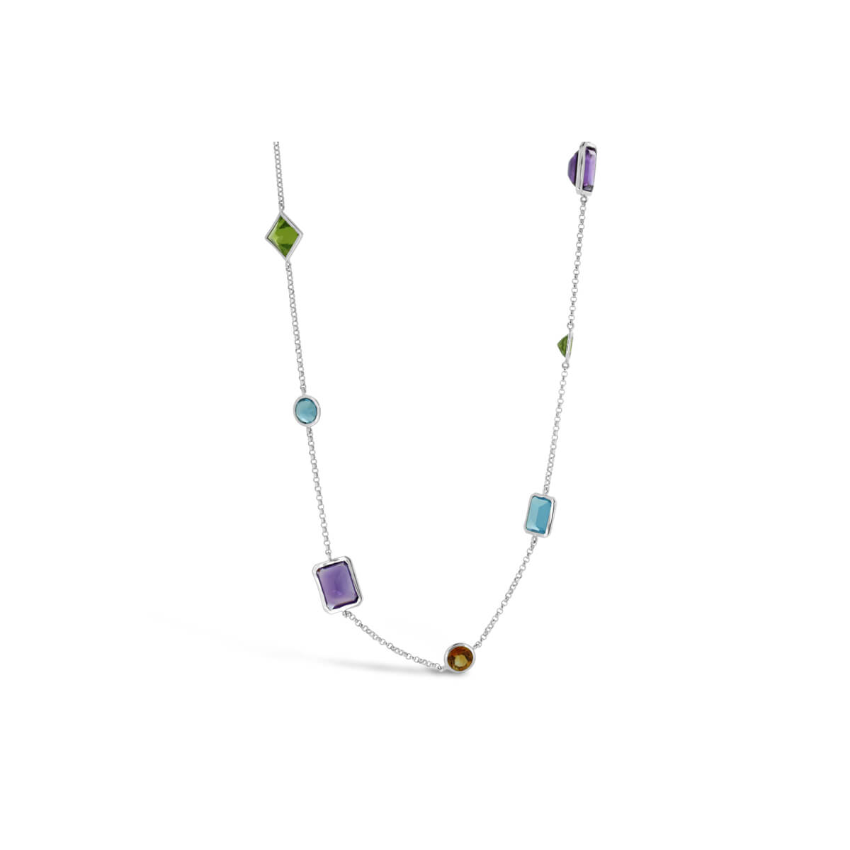 18ct white gold semi precious coloured stone belcher link necklace
