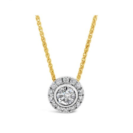 Diamond Halo Slider Pendant And Yellow Gold Necklace