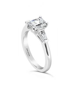 Platinum Emerald Cut Diamond Engagement Ring