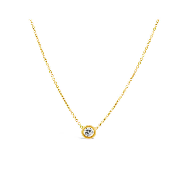Yellow Gold Diamond Solitaire Pendant