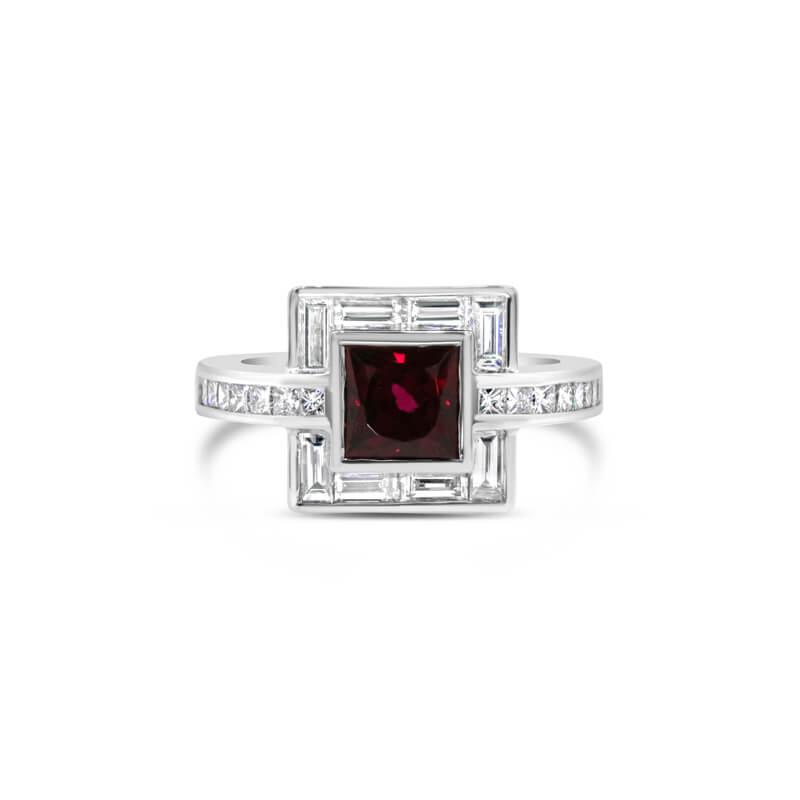 White Gold Rubellite And Diamond Dress Ring