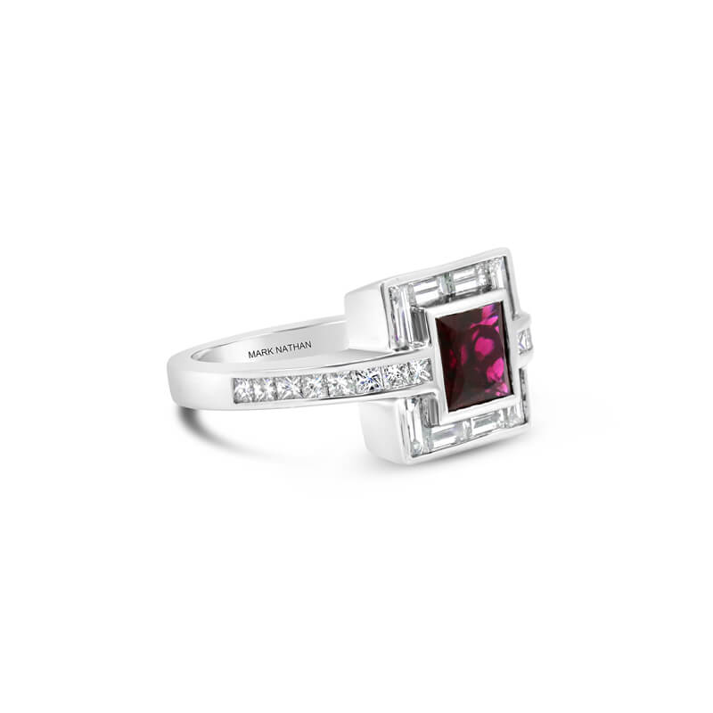 White Gold Rubellite And Diamond Dress Ring