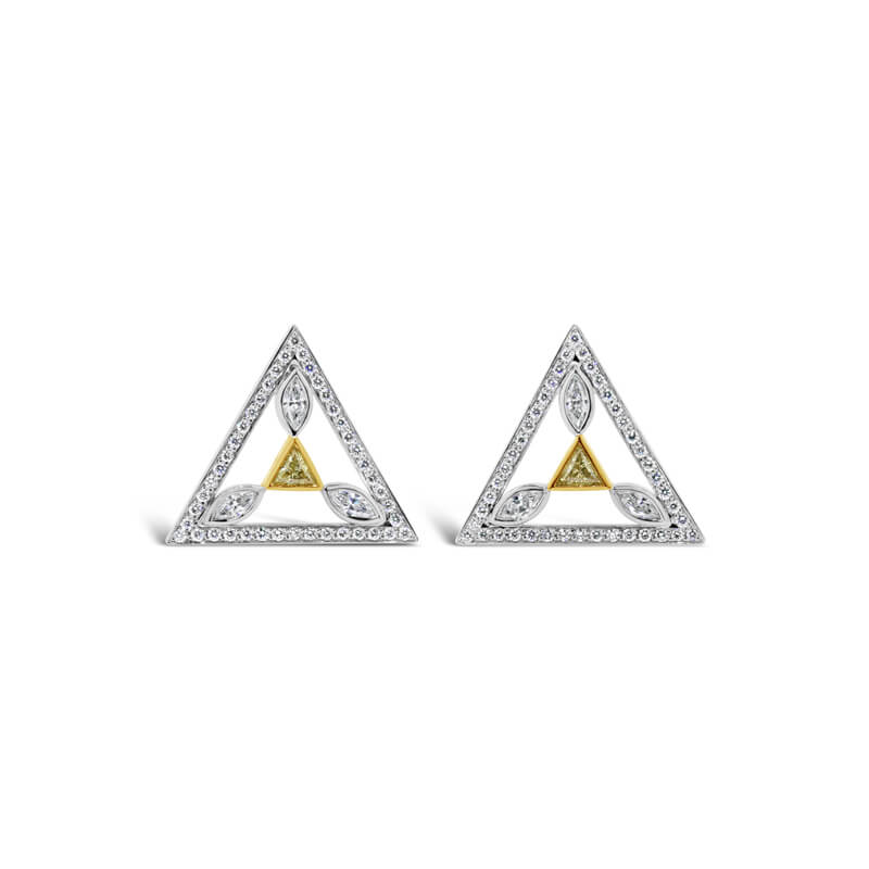 Yellow And White Gold Diamond Cuff Links