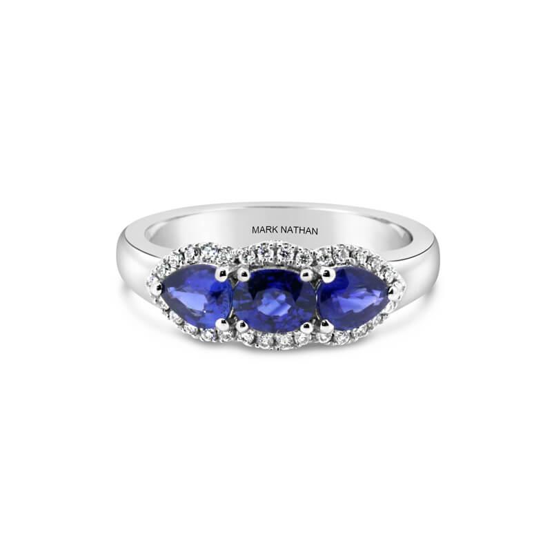 White Gold, Ceylon Sapphire And Diamond Ring