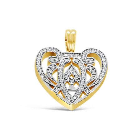 Yellow Gold Heart Shaped Diamond Set Enhancer Pendant
