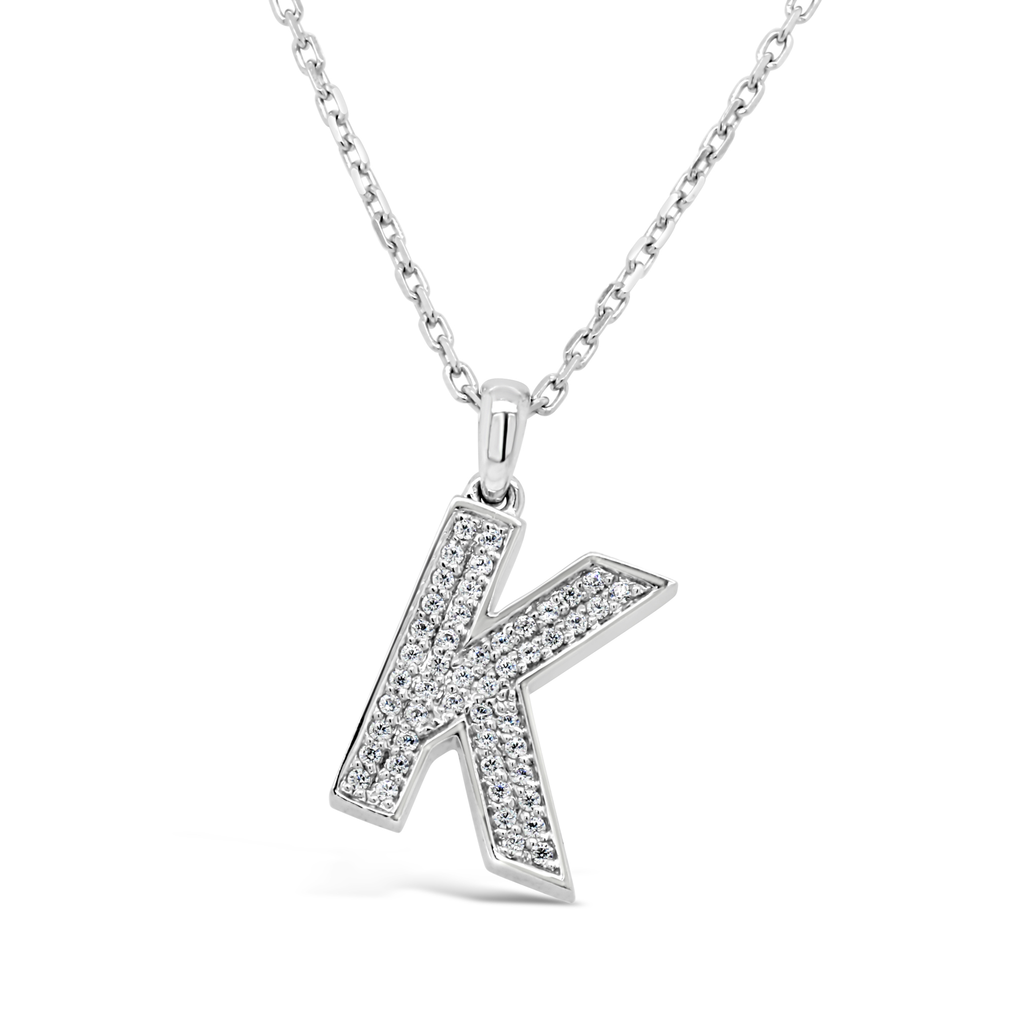 White Gold Diamond Set - 'K' Initial